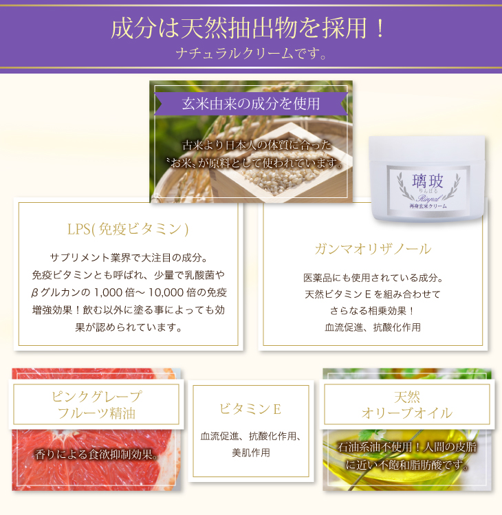 成分は天然抽出物を採用。ナチュラルクリームです。玄米由来の成分を使用。ピンクグレープフルーツ精油。天然オリーブオイル